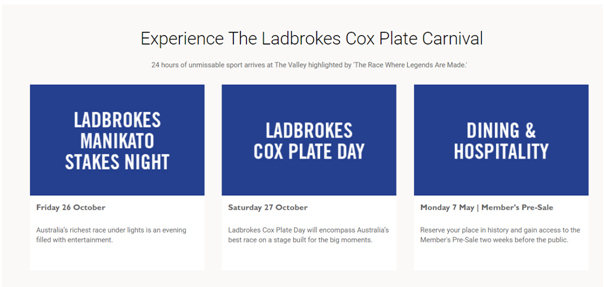 When is Cox Plate 2018 AU
