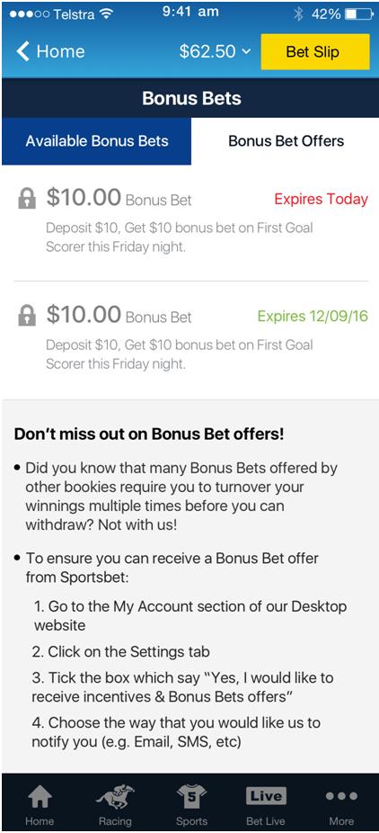 Free bets at Sportsbet Australia