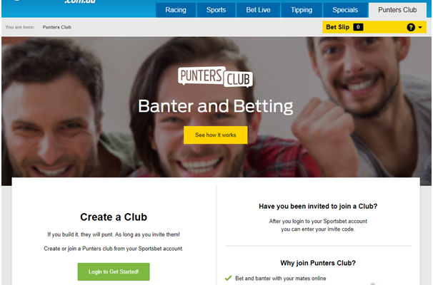 How to create a Punters Club at Sports Bet Bookie Australia