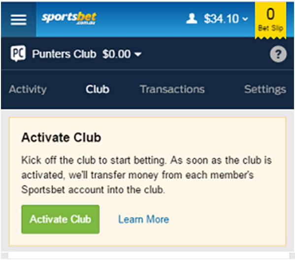 How to create punters club and activate
