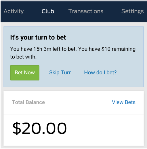 Placing a bet with Punters Club bookie