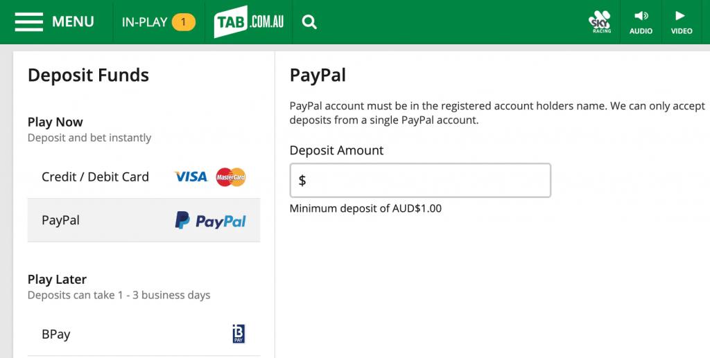 TAB allows Paypal Deposits
