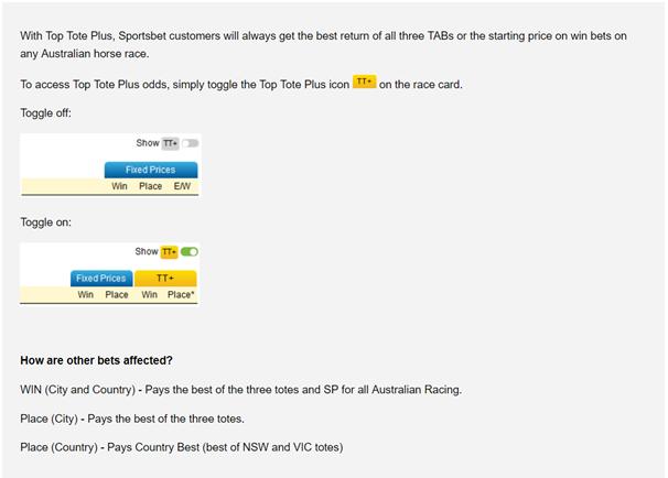 Tote Betting at Sportsbet Australia