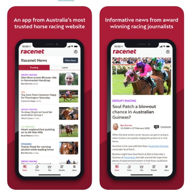 Racenet app for Horse racing