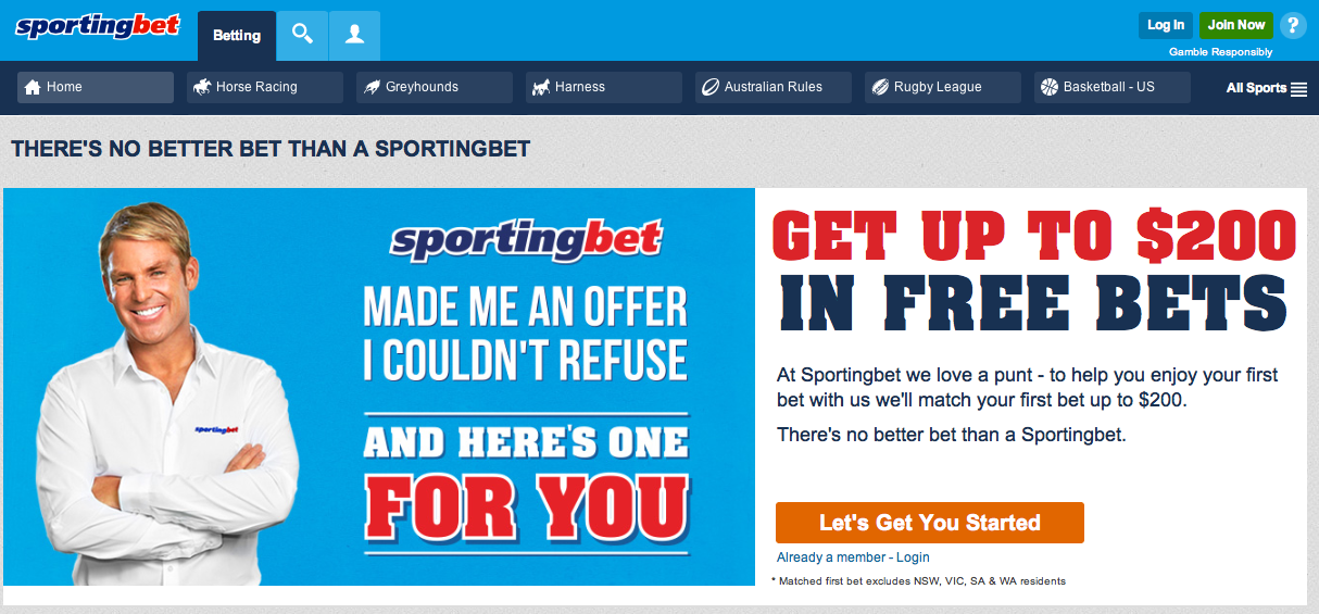 sportingbet home ihorsebetting au